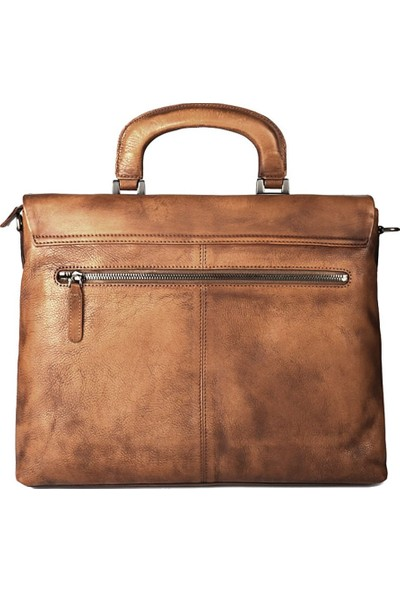 Casuha Fashion Retro Genuine Leather Bag Top quality Business Brief, Açık kahve