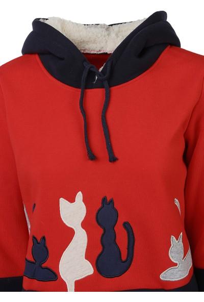 Bonalodi Kırmızı Kedi Nakış İşleme Yün Polar Kapşonlu Bayan Sweatshirt