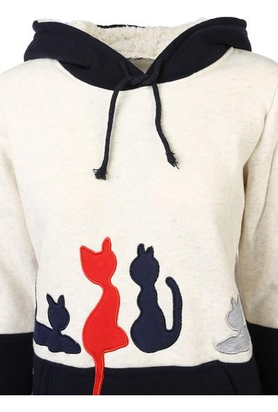 Bonalodi Krem Kedi Nakış İşleme Yün Polar Kapşonlu Bayan Sweatshirt