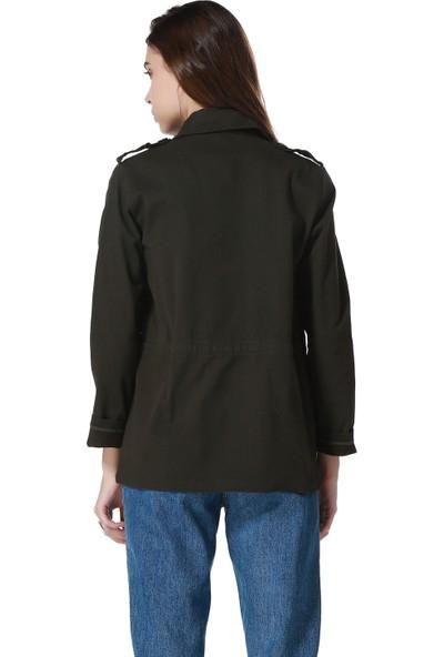 Bonalodi Omuz Renkli Payet Nakış İşleme Haki Bayan Ceket