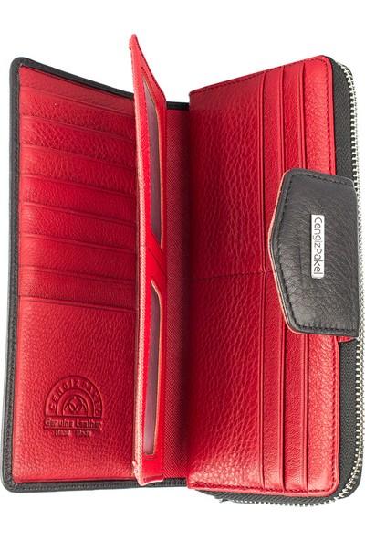 Cengiz Pakel Hakiki Deri Cüzdan 65133 Siy/Kırmızı