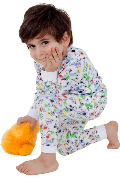 Çocuk Pamuklu Pijama Takımı Sevimli Canavarlar Desenli