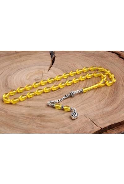 İnan Tesbih Ateş-İ Kehribar Şeffaf Sarı Gümüş Süslemeli Tesbih