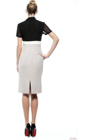 Nelida Nelida Koleksiyonu Üç Renkli Şifon Detaylı Elbise