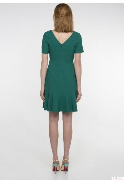 Nelida Yeşil Volanlı Elbise