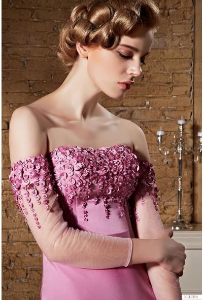 Nelida Omuzları Açık Çiçek Tasarımlı Elbise