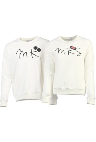 Bonalodi Beyaz Mr Mrs Sevgili Çift Sweatshirt