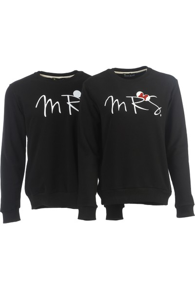 Bonalodi Siyah Mr Mrs Sevgili Çift Sweatshirt