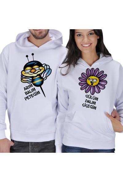 Tisho Arım Balım Peteğim - Gülüm Dalım Çiçeğim Baskılı Sevgili Kapüşonlu Sweatshirt