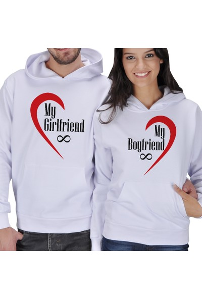 Tisho My Girlfriend - My Boyfriend Sevgili Kapüşonlu Sweatshirt
