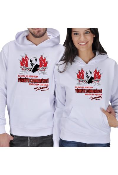 Tisho Türkiye Cumhuriyeti Baskılı Sevgili Kapüşonlu Sweatshirt
