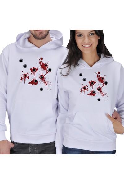 Tisho Kurşun Yarası Baskılı Sevgili Kapüşonlu Sweatshirt