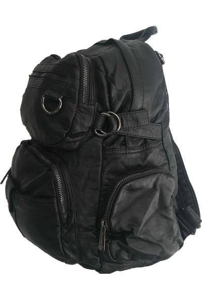 Çanta Stilim Yıkanmış Deri 2661-S Büyük Boy Bayan Sırt Çantası