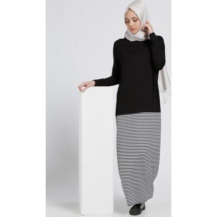 b0804bbfbf20c Benin Doğal Kumaşlı Çizgili Elbise - Siyah Fiyatı