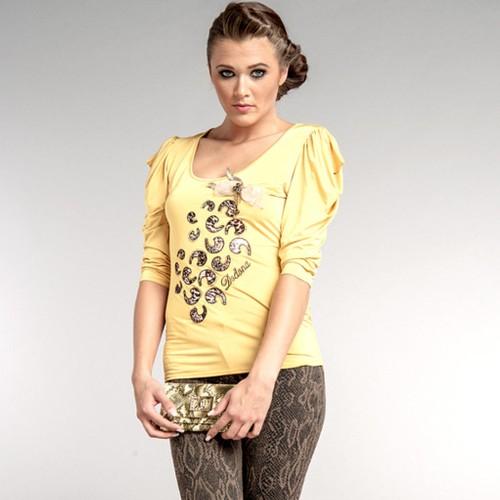 Dodona Tasarım Aksesuarlı Şık Sarı Bluz