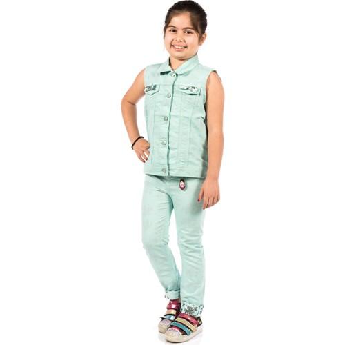 Ottomama Kız Tersi Baskılı Yelek Yeşil Renk