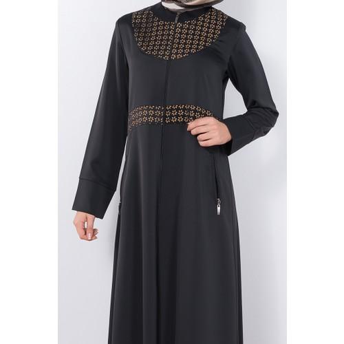 Modaverda Ferace Papatya Lazer Kesim Siyah (2) Renk