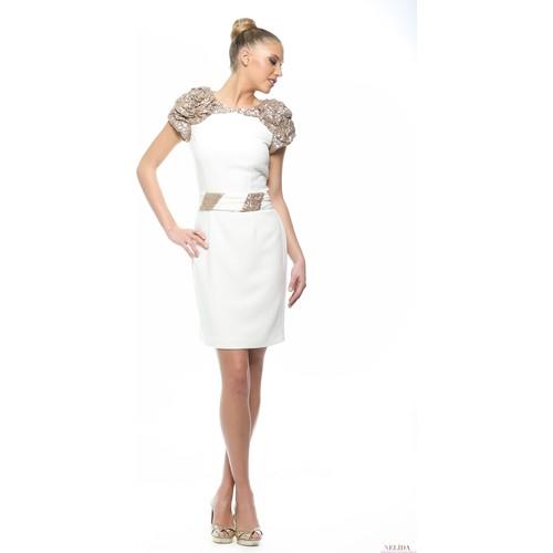 Nelida Nelida Koleksiyonu Pullu Omuz Detaylı Krem Tasarım Elbise