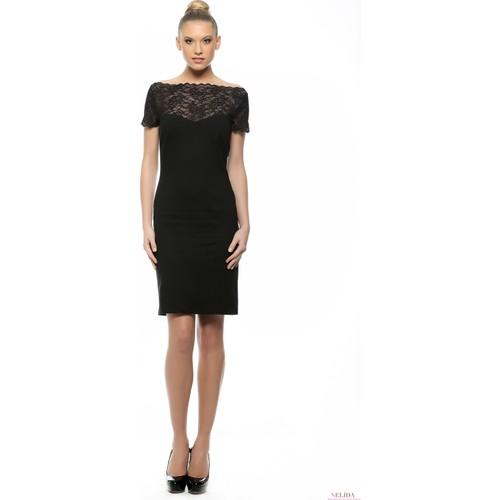 Nelida Nelida Koleksiyonu Siyah Dantel Detaylı Lycra Elbise