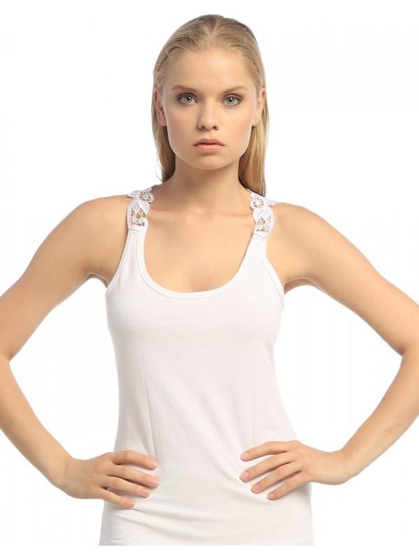 Şahinler Kadın Beyaz Geniş Askılı Sırtı Pul Dekolteli Atlet MB368