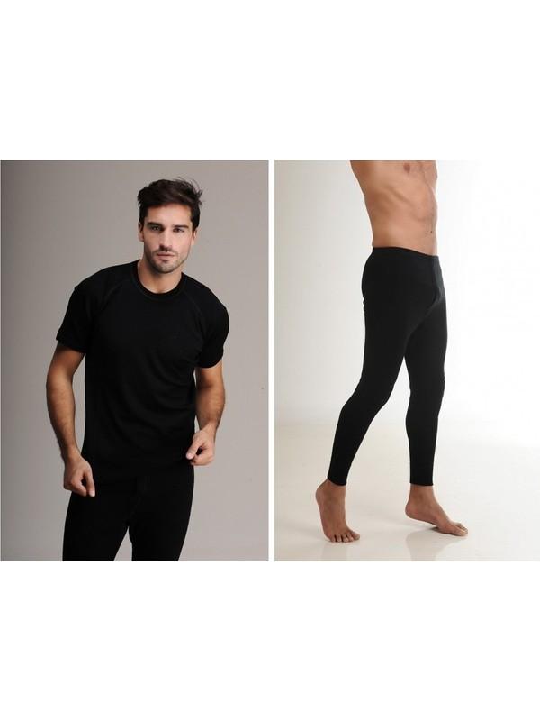 Elif Çamaşır Hasyün Erkek Yün Kısa Kol İçlik Takım Siyah