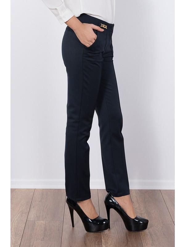 Modaverda Bayan Dikişli Tokalı Pantolon Lacivert Renk