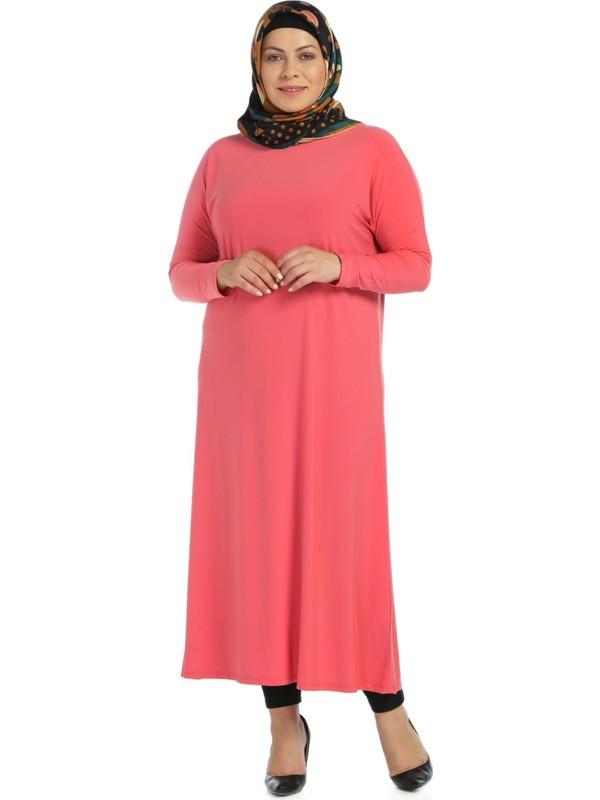Modaverda Sandy Kumaş Elbise Nar Renk