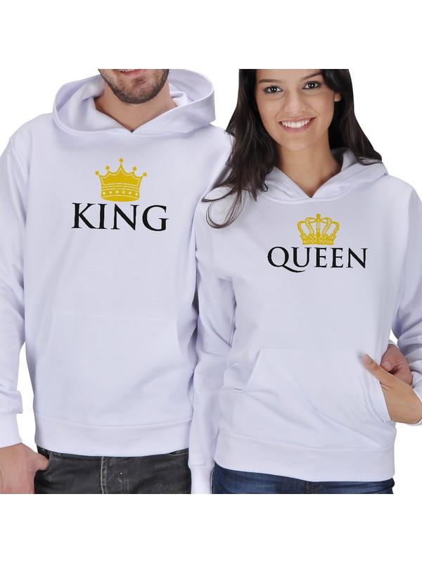Tisho King - Queen Baskılı Sevgili Kapüşonlu Sweatshirt