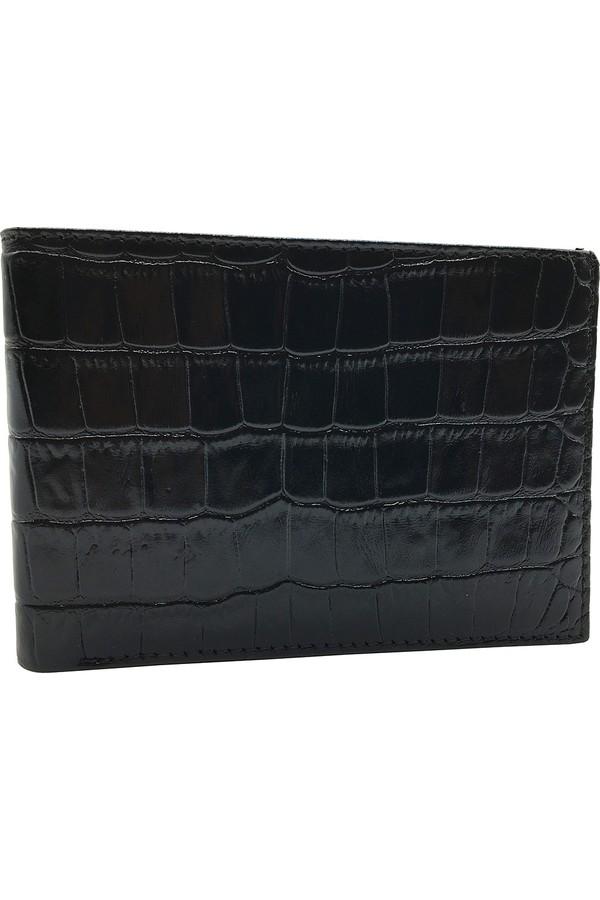 السندات 588-356 KROKO الأسود محفظة من الجلد الحقيقي للرجال