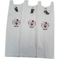 Gümüş İç Giyim Geniş Askılı Baskılı Kız Çocuk Atlet 3'lü Paket