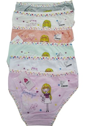 Koza Renkli Desenli Kız Çocuk Külot 6'lı Paket
