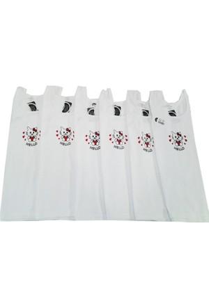 Gümüş İç Giyim Baskılı Geniş Askılı Kız Çocuk Atlet 6'lı Paket