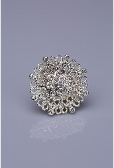 Fsg Takı Kristal Taşlı Gümüş Kaplama Mıknatıslı Broş
