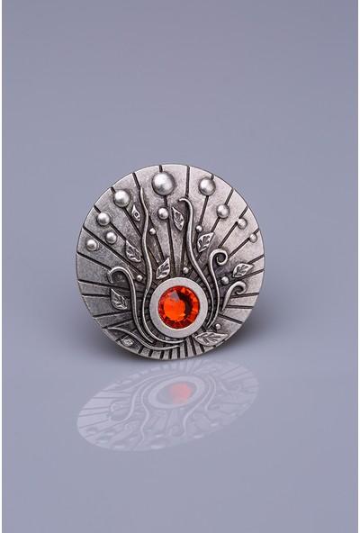 Fsg Takı Kırmızı Taşlı Gümüş Kaplama Mıknatıslı Broş