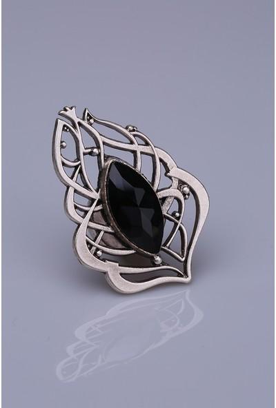 Fsg Takı Siyah Kristal Gümüş Kaplama Mıknatıslı Broş
