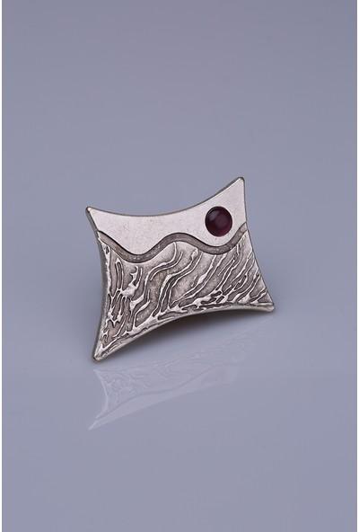 Fsg Takı Mor Taşlı Gümüş Kaplama Mıknatıslı Broş