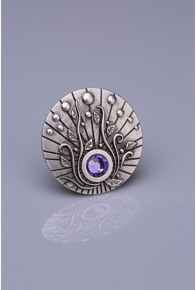 Fsg Takı Eflatun Taşlı Gümüş Kaplama Mıknatıslı Broş