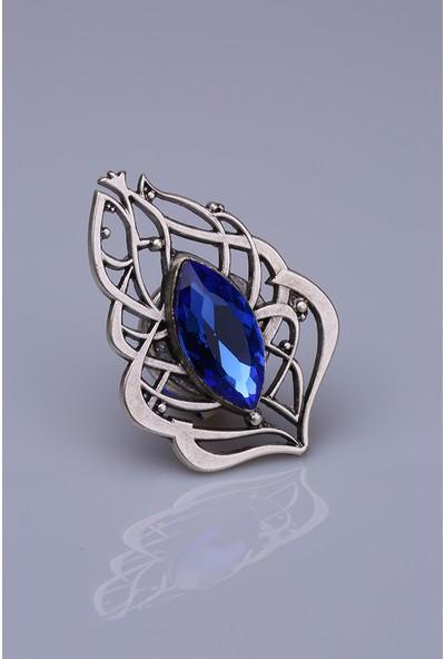 Fsg Takı Saks Mavisi Kristal Gümüş Kaplama Mıknatıslı Broş