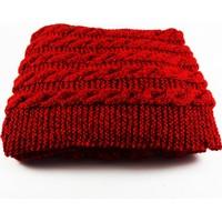 Nill Dünyası El Örgüsü Kadın Şapkalı Atkı - Kırmızı Ebruli