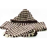 Nill Dünyası El Örgüsü Çocuk Şapkalı Atkı - Bordo/Krem