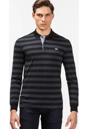 Lacoste Uzun Kollu Çizgili Erkek Polo Sweatshirt Siyah PH1805.05S
