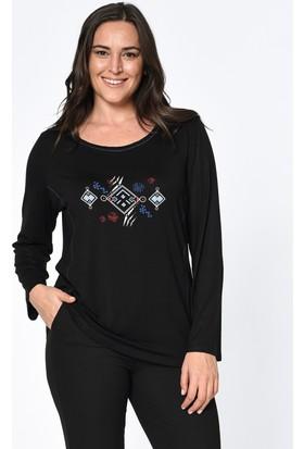 Lir Kadın Baskılı Bluz Siyah 2183