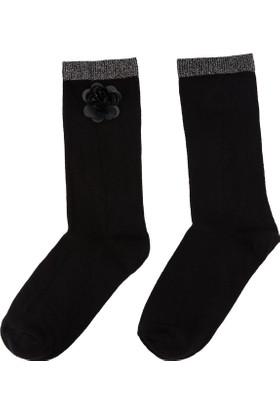 DeFacto Kadın Çiçek Detaylı Çorap Siyah