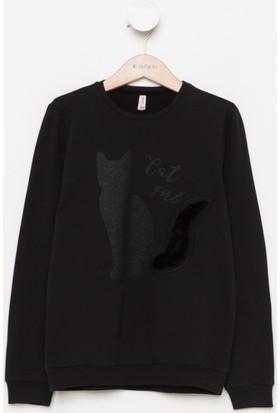 DeFacto Kız Çocuk Baskılı Sweatshirt Siyah