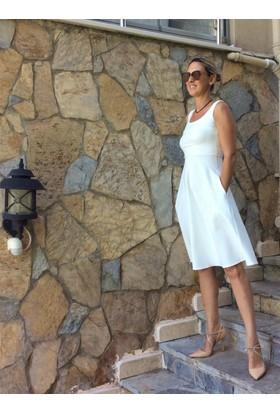 Beyaz Kalın Askılı Elbise