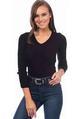 Bukle Moda V Yaka Triko Bluz