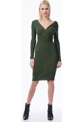 Bukle Moda Kruvaze Yaka Triko Elbise