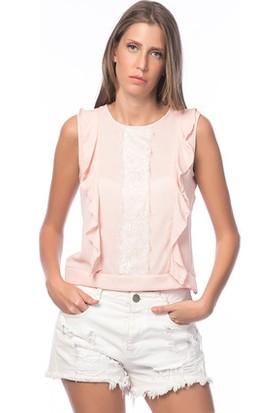 Bukle Moda Dantel Detay Kolsuz Bluz