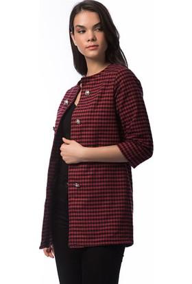Bukle Moda Kırmızı Siyah Kareli Ceket