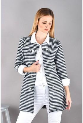 Bukle Moda Siyah Beyaz Kareli Ceket